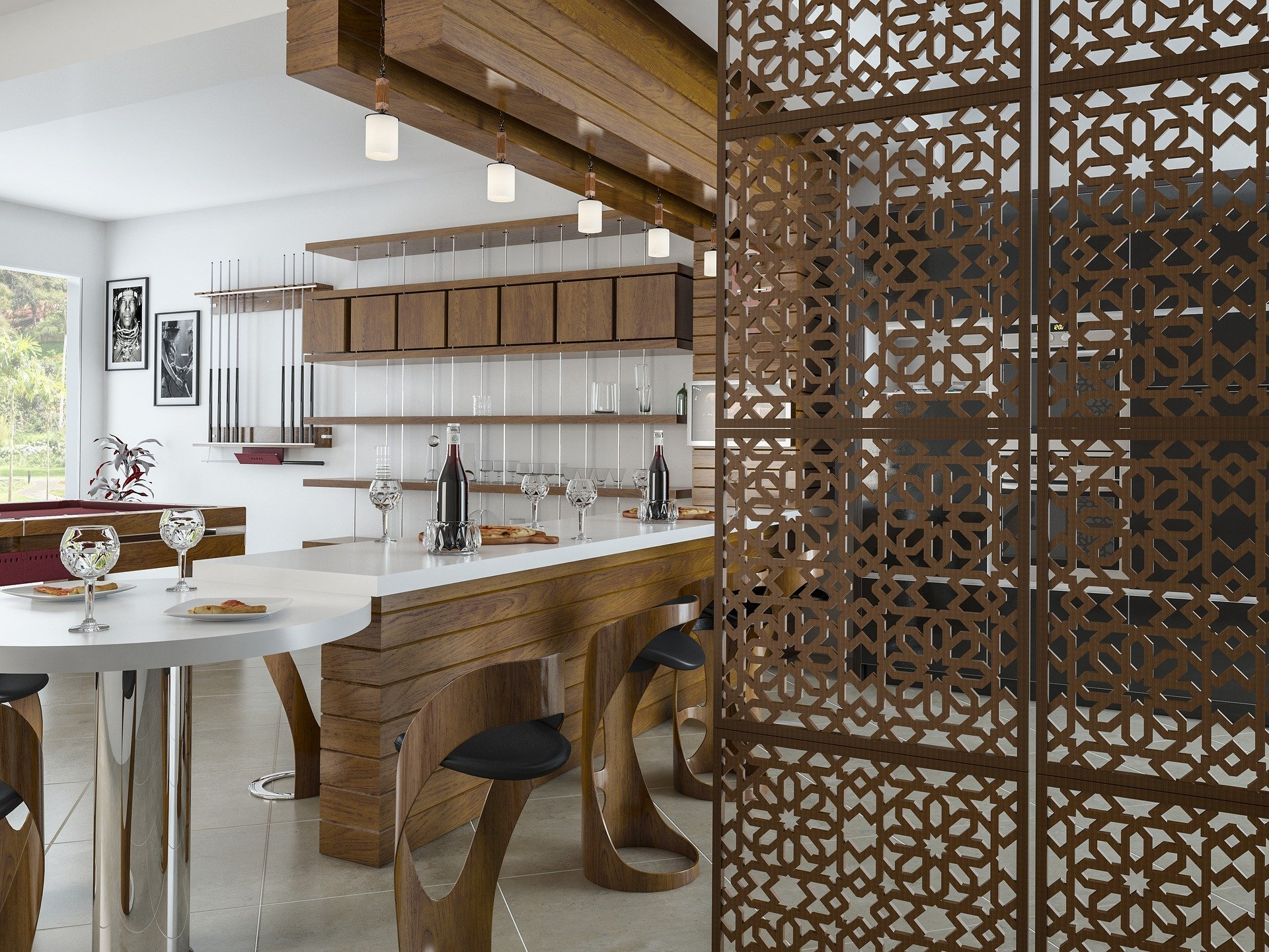 Dřevo kuchyně interiér